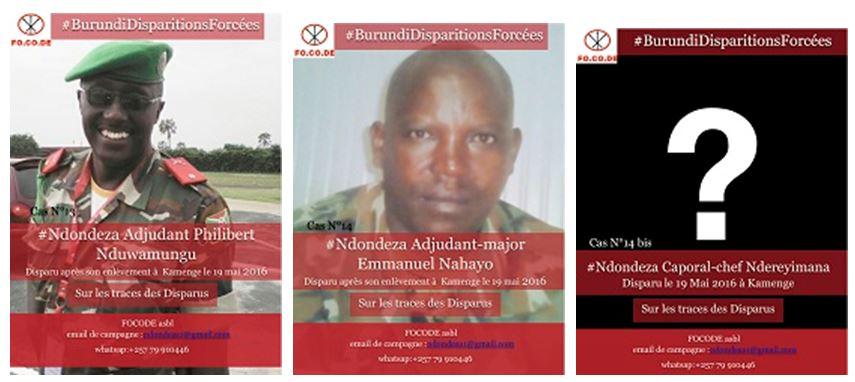 La disparition forcée de l'Adjudant Philibert NDUWAMUNGU, de l'Adjudant-major Emmanuel NAHAYO et du Caporal-chef NDEREYIMANA